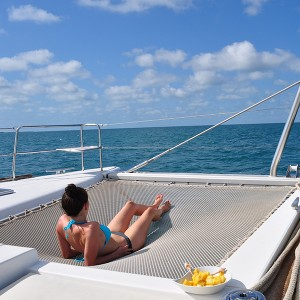 A relaxing moment sailing on catamaran belize
