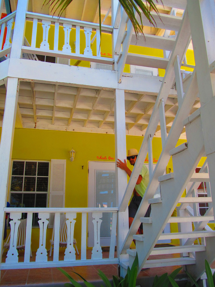 brightly colored hotel restaurant in belize