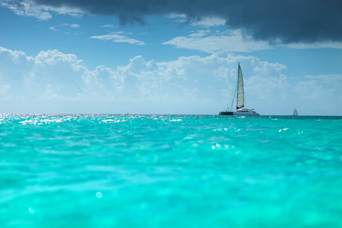 catamaran boat in the turquoise waters of the caribbean sea