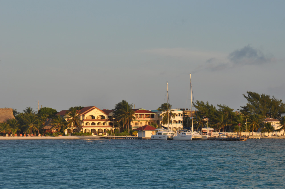 catamarans at dock at sunset in beautiful belize