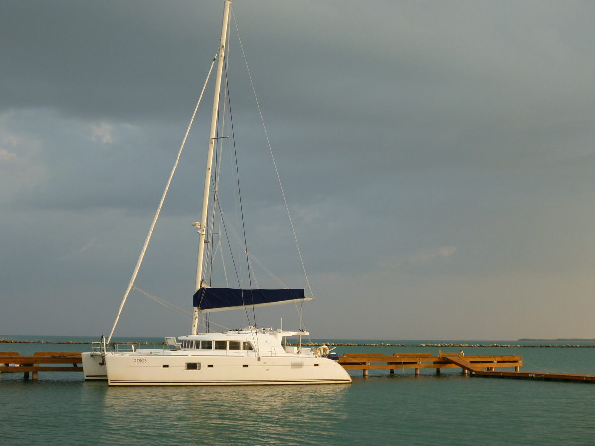 Doris Docked at sunset in the blue green waters of belize