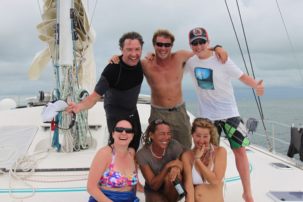 fun with captain cliff on catamaran while on amazing family vacation