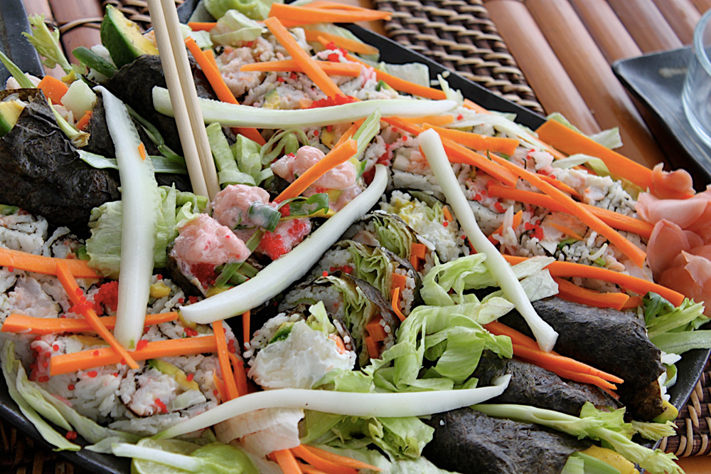 Sharon made sushi with local seafood on all-inclusive catamaran charter