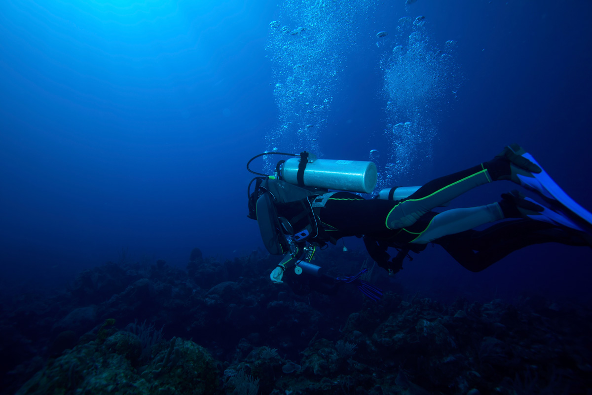 world class deep scuba diving over beautiful coral reef